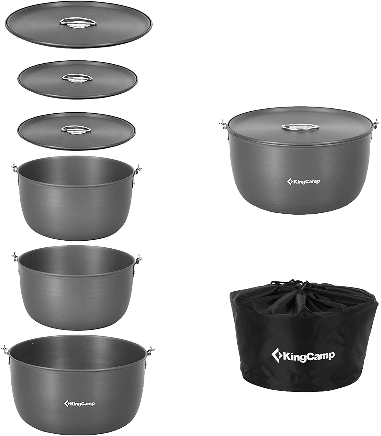 KingCamp Hanging Pot Camping Cookware Set 6-8 Persons 3PCS Dual Purpose Hard-Anodized Aluminum Lightweight Pots with Lids for Hiking Backpacking Campfire Backyard Picnic Outdoor Travel