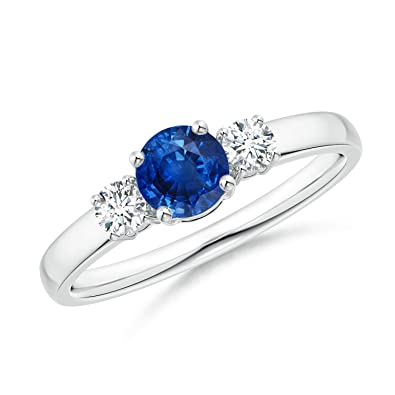 e32c2390e Classic Blue Sapphire and Diamond Three Stone Engagement Ring in Platinum  (5mm Blue Sapphire)