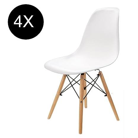Egnm Set Von 4 6 Kunststoff Weiss Wohnzimmer Stuhl Esszimmerstuhl Burostuhl Nordischen Stil Weiss Satz Von 4