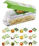 NOVEL 18/10 Steel Vegetable and Fruit Chipser with 11 Blades 1 Peeler Inside, Chopper, Slicer , Green