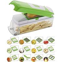 NOVEL 18/10 Steel Vegetable and Fruit Chipser with 11 Blades 1 Peeler Inside, Chopper, Slicer , Green