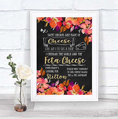 (Pink Coral Orange & Purple Cheeseboard Cheese Song Personalized Wedding Sign)