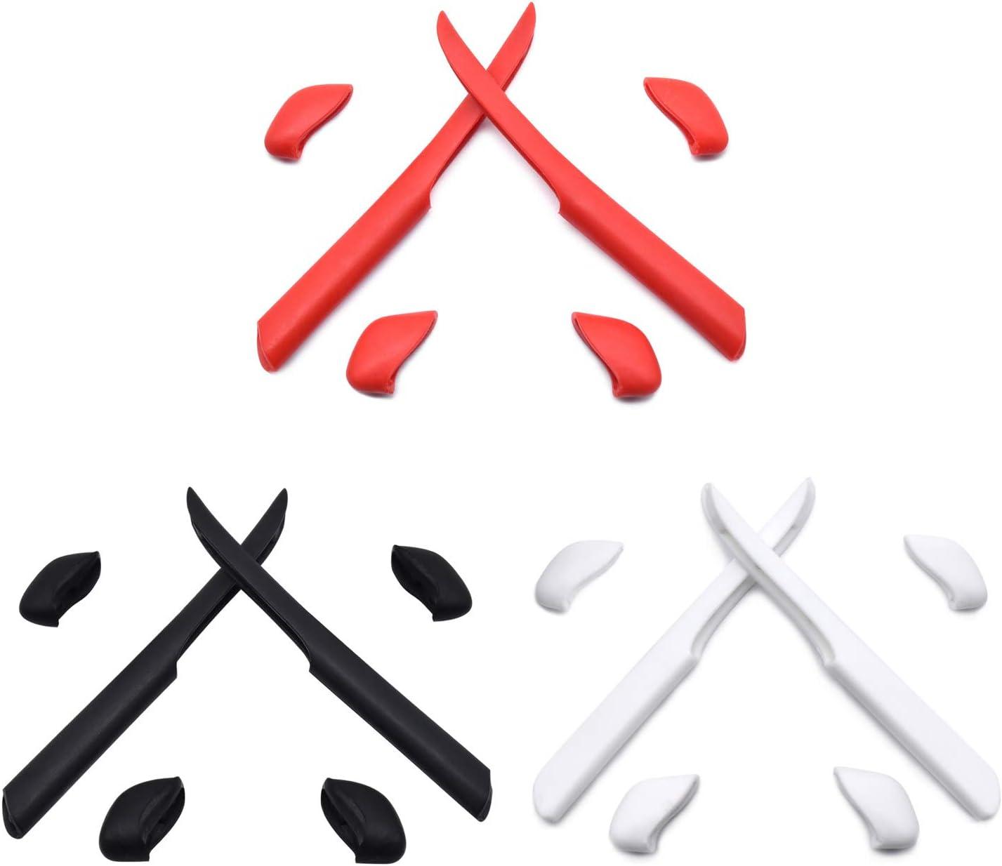 HKUCO Jambe de Rechange en Silicone pour Oakley Fast Jacket XL/Fast Jacket des Lunettes de Soleil Kit de Caoutchouc Rouge/Noir/Blanc