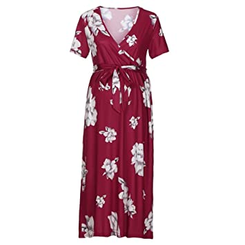 d5f432e536702 Women's Vintage Print V Neck Knee Length Short Sleeve Ruched Midi Maternity  Dress with Adjustable Belt