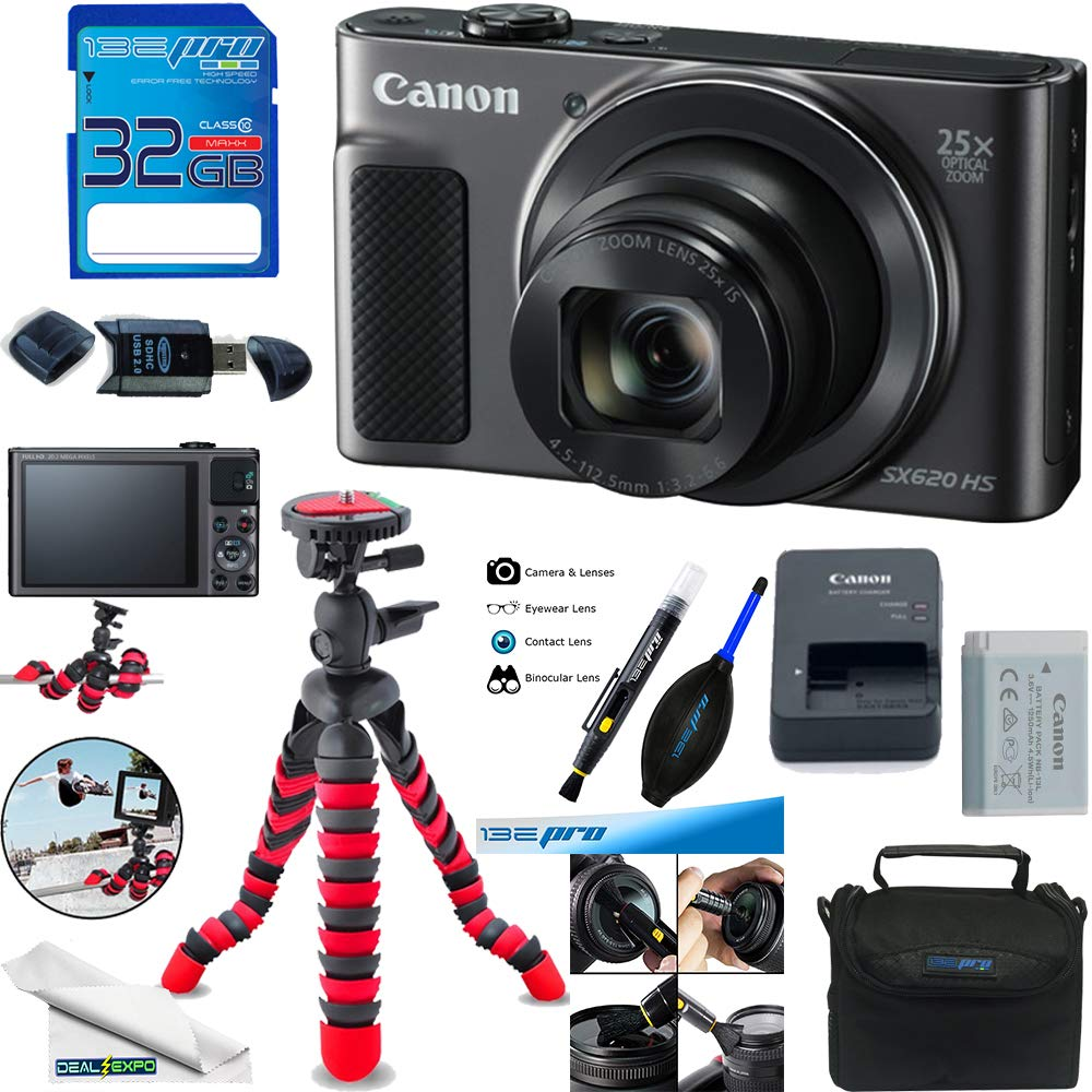 Canon PowerShot SX620 HS Digital Camera (Black) + Deal-Expo Accessories Bundle. by Deal-Expo