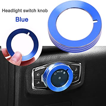 Alloy Head light Switch Button Cover Trim Decor Ring For Ford Mustang F-150 Blue