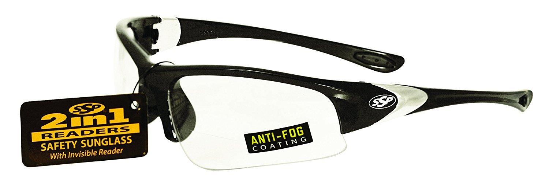 SSP Eyewear 1.25 Bifocal/Reader Safety Glasses with Black Frames & Clear Anti-Fog Lenses, ENTIAT 125 BLK CL A/F