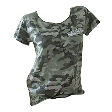 f181dad88e893 Women Short Sleeve Summer Casual T Shirts Camouflage Sequin Tops Female  Plus Size Purple,Pink,White,Army Green: Amazon.co.uk: Clothing