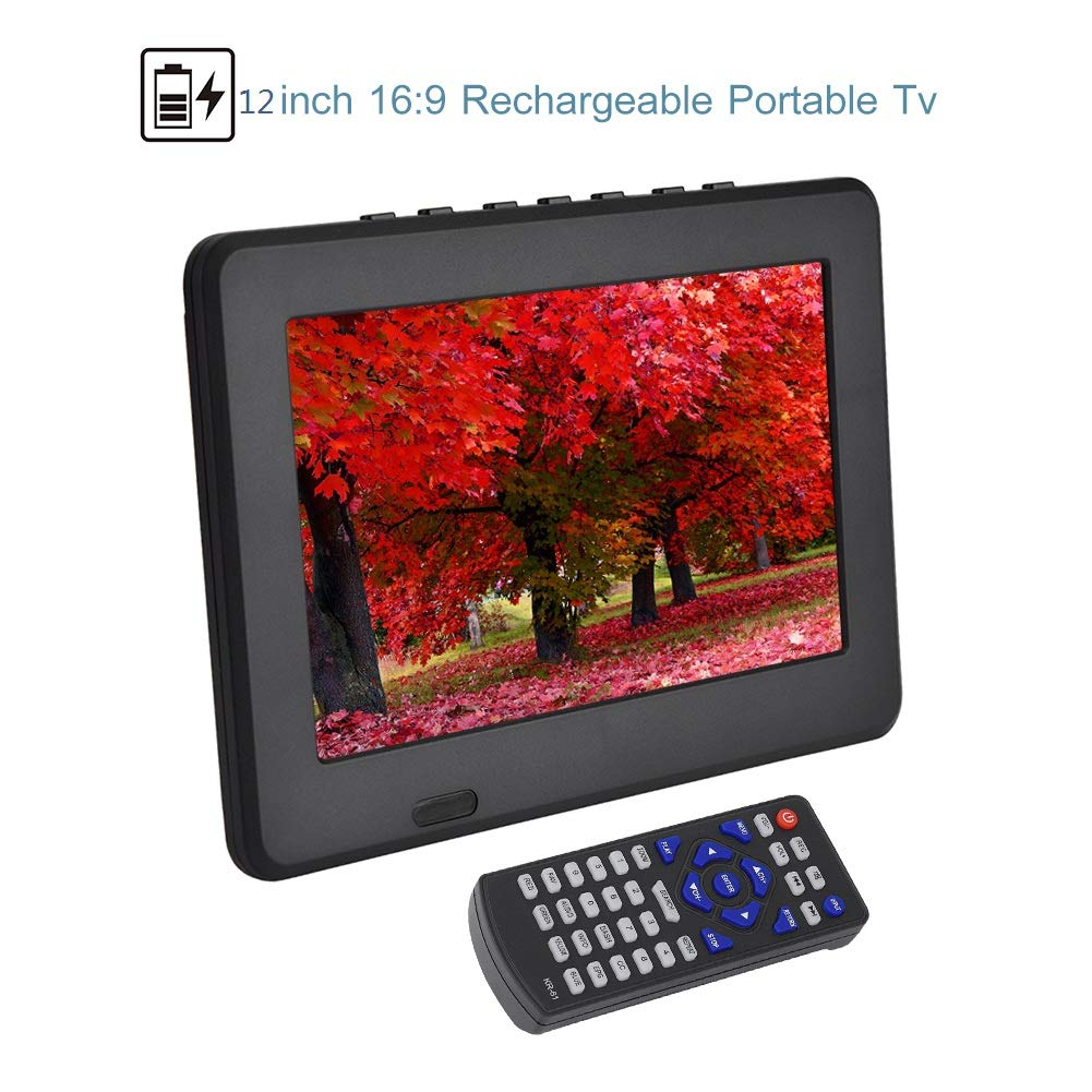 Portable Car Tv with Hdmi,12In 1080P Atsc Digital Tv,1280x800 1500Mah Mini Tv Supports Av in/Out, Sd/Mmc Card, USB Port, Vga, Hdmi, Headset Plug for Home Or Camping Car with 12V Car Charger.