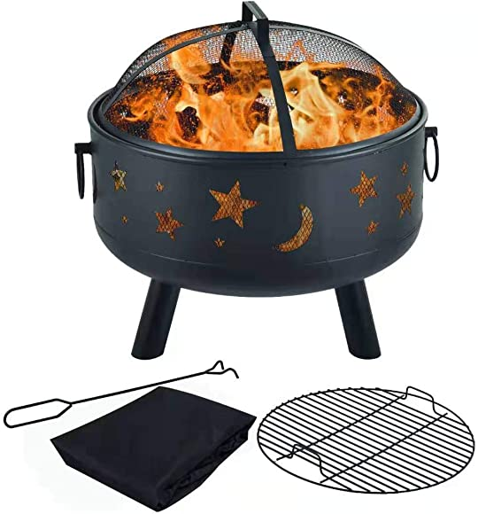 Y-ME Wood Burning Fire Pit Outdoor Patio Campfire Backyard Fireplace,Round Steel Deep Bowl Fire Pit 24 inch