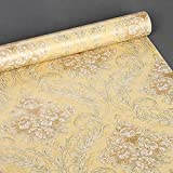 SimpleLife4U 2pcs Yellow Damask Self-Adhesive Shelf Drawer Liners PVC Contact Paper,18-Inches by 9.8-Feet