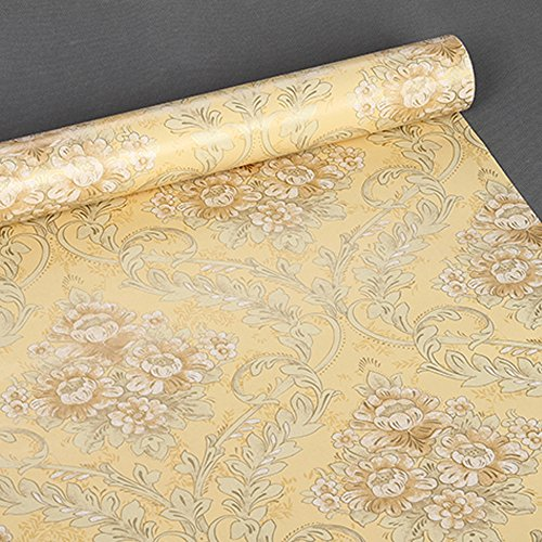Review SimpleLife4U Yellow Damask Self-Adhesive Shelf Drawer Liner Moisture Proof PVC By SimpleLife4U by SimpleLife4U