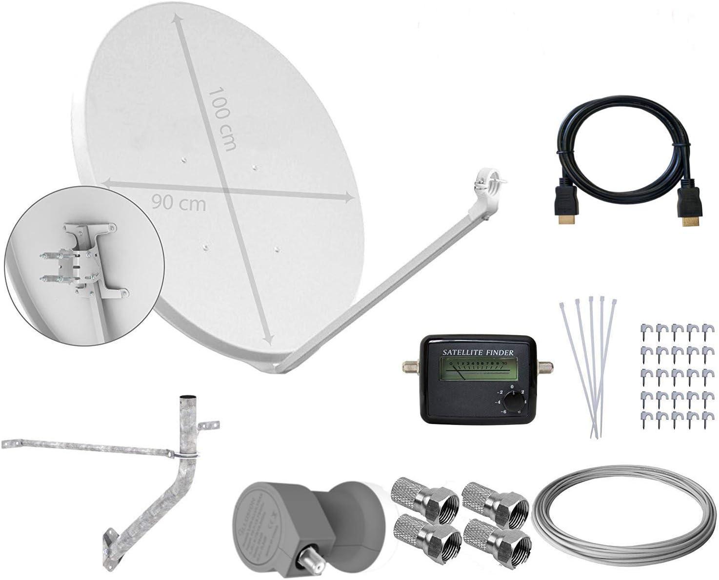 Tecatel E100C1LSCCK1 - Kit parabólica de 100 cm (Soporte, LNB Universal, Cable, Conectores, Grapas, Bridas y buscador), Color Blanco