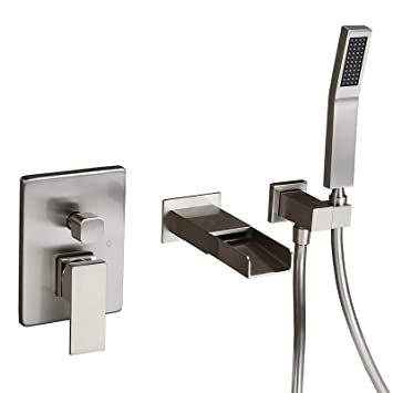 Homary Waterfall Spout Wall Mounted Tub Faucet Brushed Nickel For