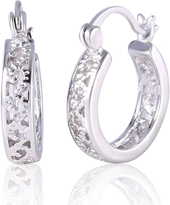 Dashing Topaz Crystal Rhinestone 18K Yellow Gold Filled Pierced Hoop Earrings