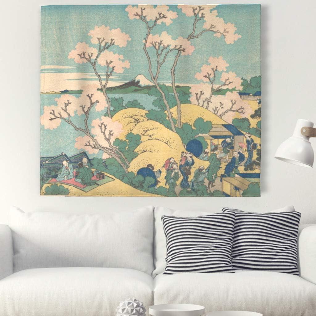 Wandtattoo-shop Sakura Fuji Berg Tapisserie murale traditionnelle de style japonais Motif mandala de plage 150x130cm White