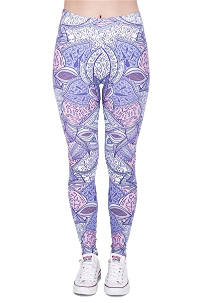 Kukubird Printed Patterns Womens Yoga Leggings Gym Fitness ...