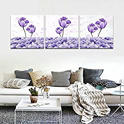 CrmArt - 3 Panels Abstract Patchwork Painting Wall Art - Floral Purple Flowers Purple Pebbles - Canvas Art Home Decoration - 12x12 inches