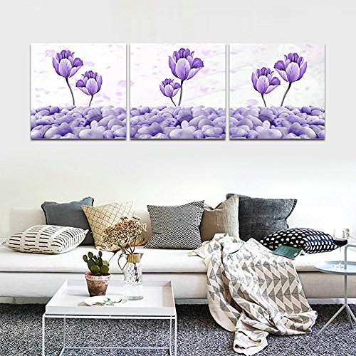 CrmArt - 3 Panels Abstract Patchwork Painting Wall Art - Floral Purple Flowers Purple Pebbles - Canvas Art Home Decoration - 16x16 inches