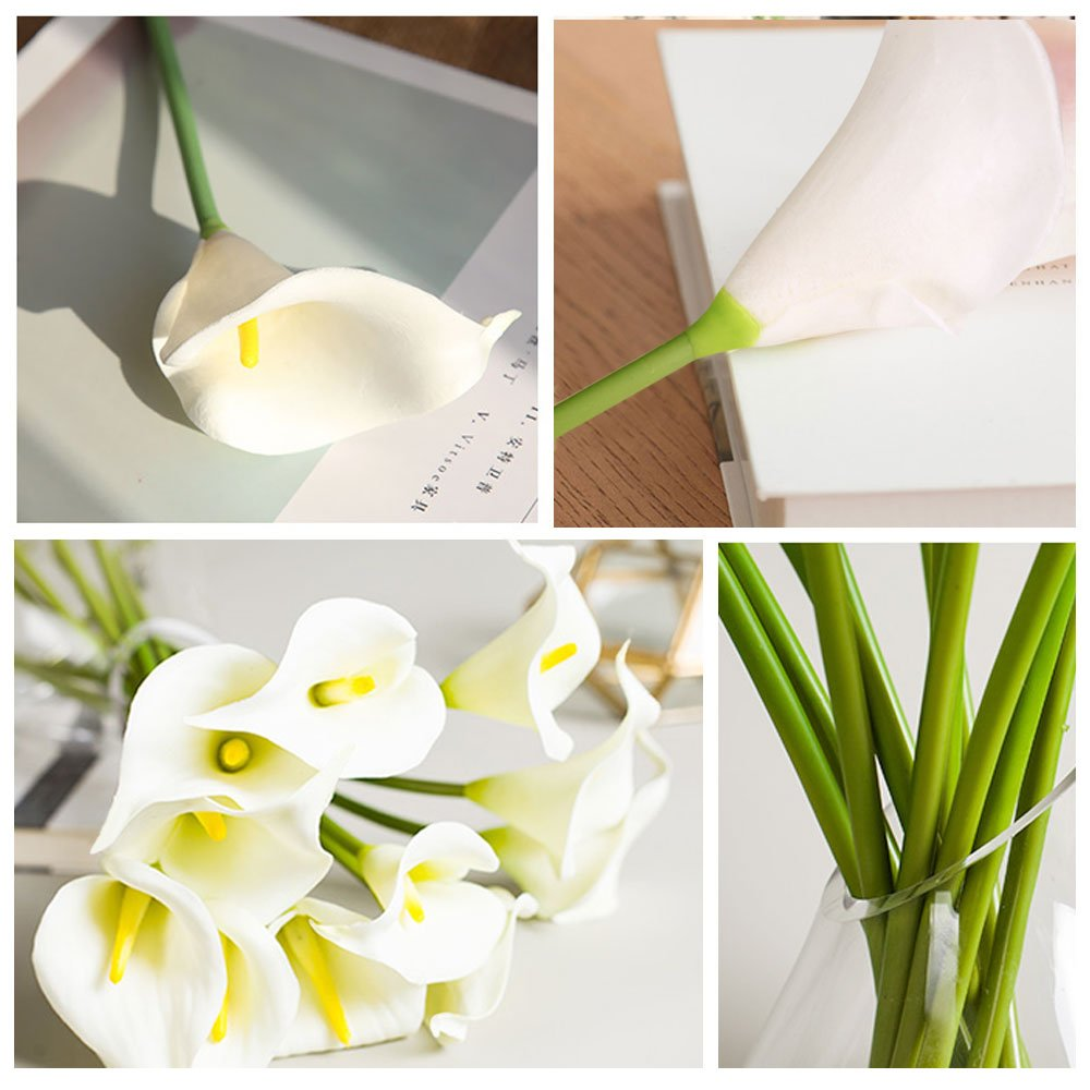 LATIT Artificial Flower,Real Touch Flowers,7 Pcs White Calla Lily, Latex Flowers for Bridal Bouquets,Wedding Centerpieces, Home Decorations, Boutonnieres, Corsage