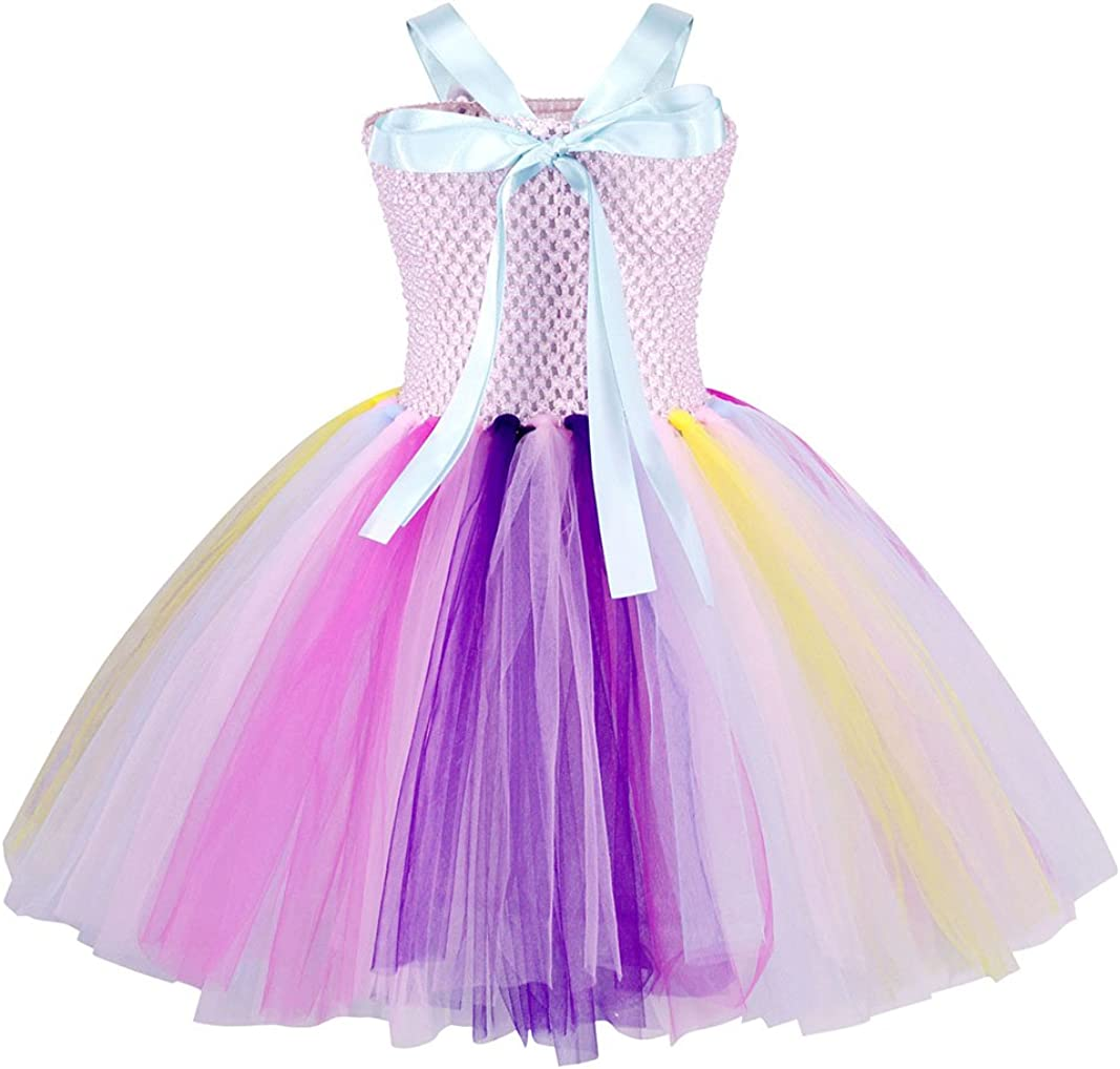 AmzBarley 2Pcs Unicorn Tulle Tutu Dress Halloween Dressing up Costume with Unicorn Headband for Girls Kids Holiday Birthday Party Dance Outfit
