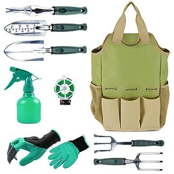 Herramienta de jardín organizador bolsa con 10 piezas herramientas de jardín, mejor Set de regalo