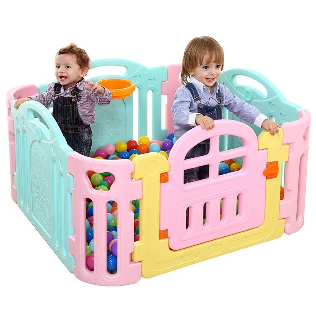【オンラインショップ】 幼児および幼児の安全柵のための赤ん坊のベビーサークル - B07QR4QVZ3 3つのパネルと1つの自由なゲートと4つのコーナーの携帯用遊び場 - - - パネルが付いている大きい屋内/屋外のプラスチック演劇のペン B07QR4QVZ3, 着物屋くるり:4b9d9208 --- a0267596.xsph.ru