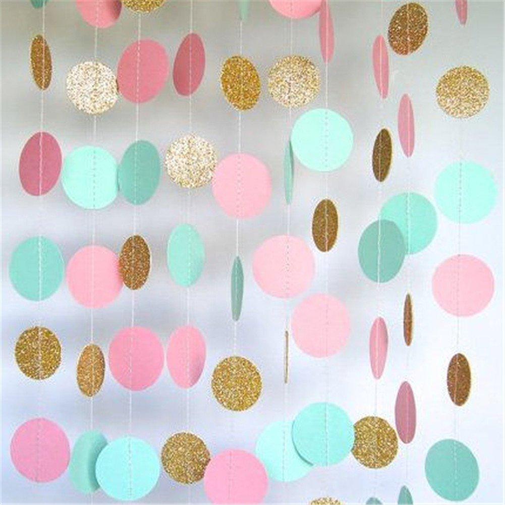 Hanging garland colorful dots wedding birthday anniversary for Gold dot garland