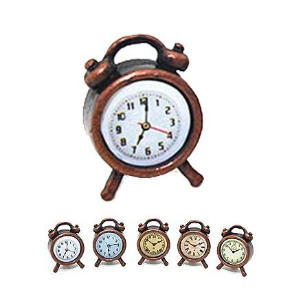 High Detail! Miniature Antique BRONZE Alarm Clock DOLLHOUSE 1:12 Scale