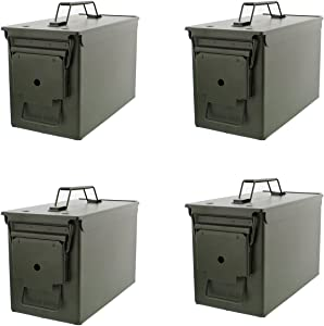 Redneck Convent 50 Cal Metal Ammo Case Cans 4-Pack – Long-Term Shotgun Rifle Gun Ammo Military Army Solid Steel Holder Storage Box