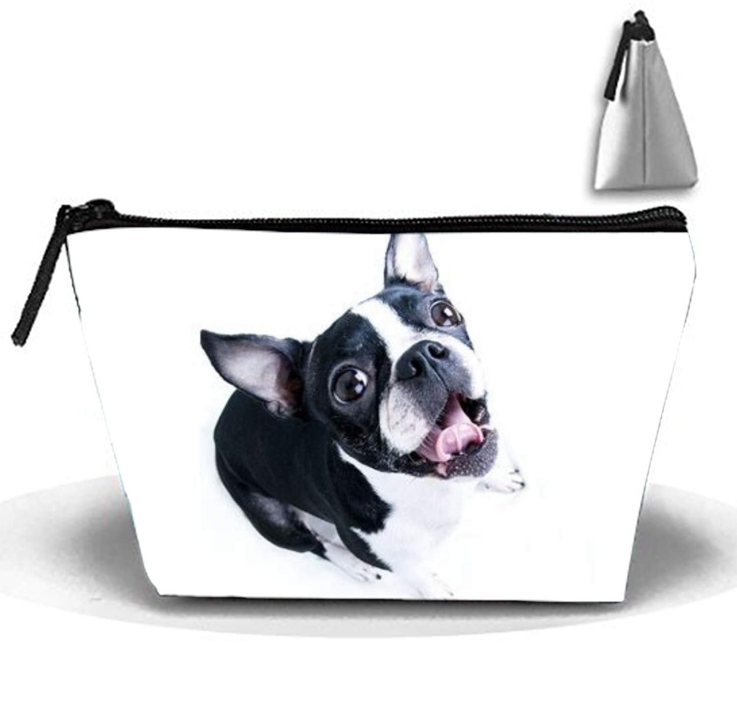Cosmetic Bag with Zipper Cute Boston Terrier Toiletry/Travel Bag for Brushes Jewelry