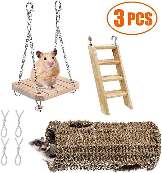 Ewolee Juego de juguetes para hámster, 3 piezas de madera natural para mascotas, escalera, timbre y túnel de paja para hámster enano, ratón, ardilla, hurón, cobaya, loro, conejito: Amazon.es: Productos para mascotas
