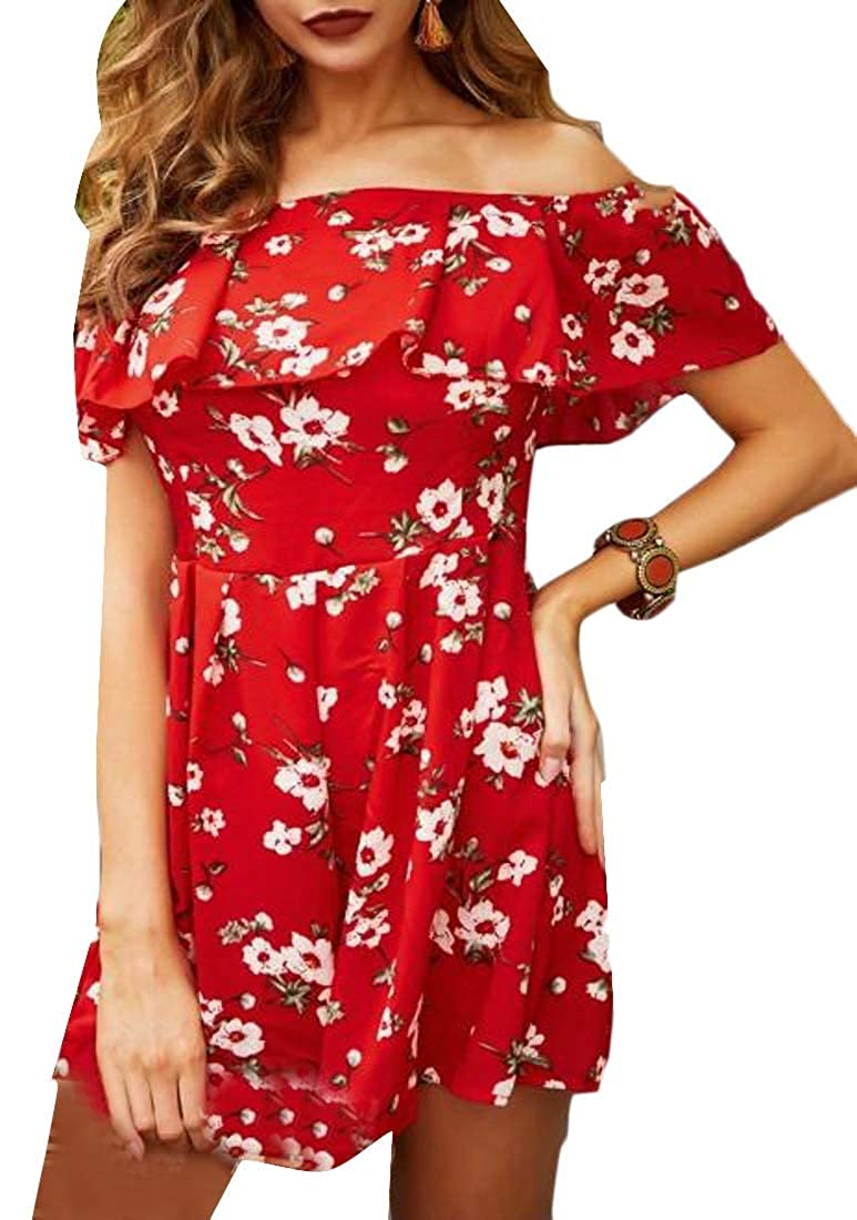 XXBlosom Womens Off Shoulder Printed Casual Short Rompers Playsuit Jumpsuits Red S