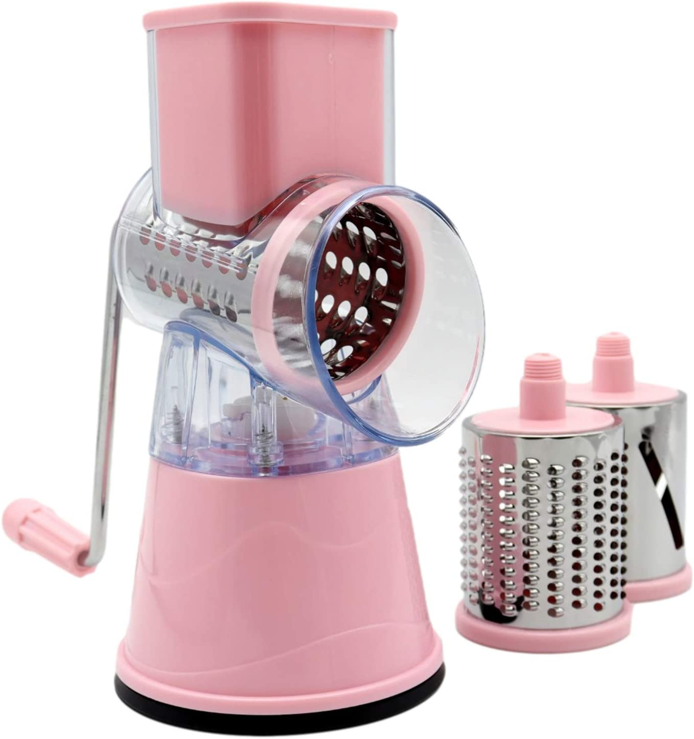 Cheng Rotary Cheese Grater for Kitchen, 3 in 1 Metal Handle Vegetable Shredder Round Mandolin Slicer Nut Chopper Grinder with 3 replaceable Blades(pink)