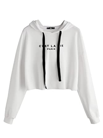 975ae3208e13e SweatyRocks Women s Long Sleeve Letters Printed Pullover Crop Hooded  Sweatshirt White XS