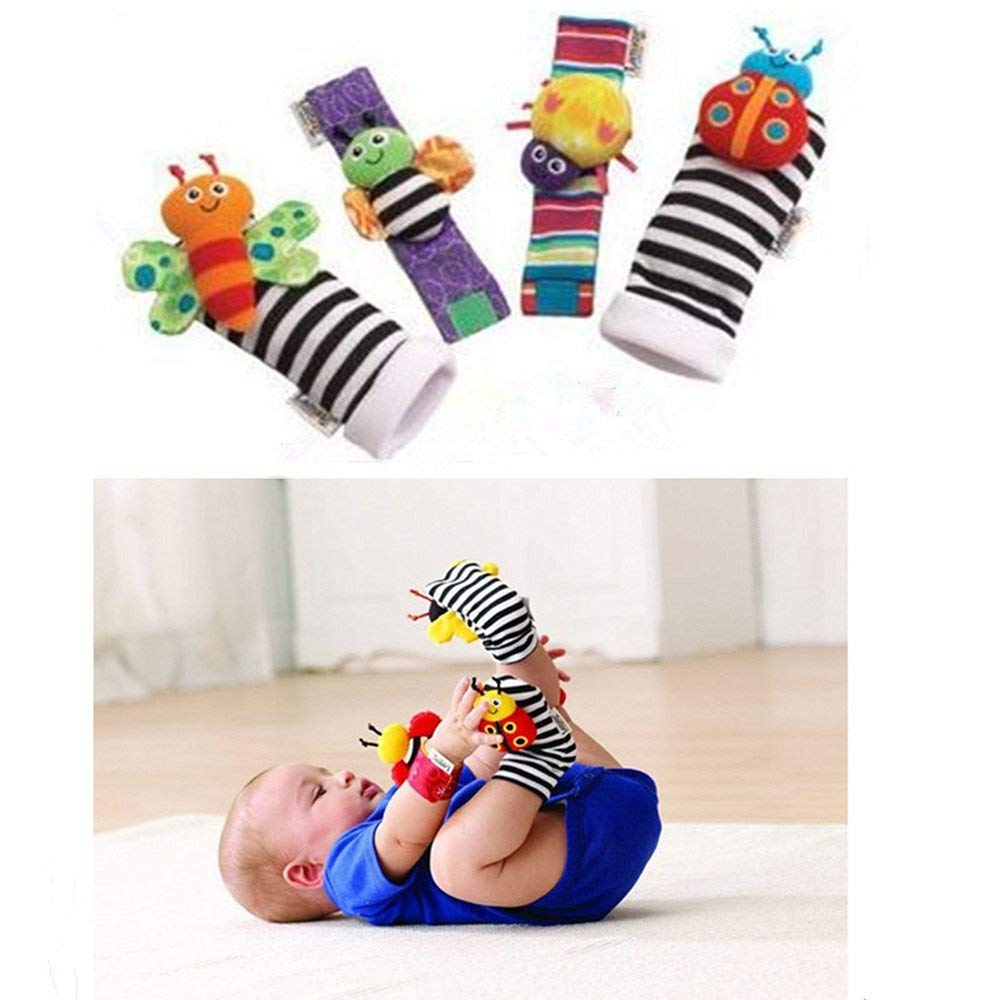 RMXZH Cute Animal Soft Baby Socks Toys Wrist Rattles and Foot Finders for Fun Reindeer Set 4PCS