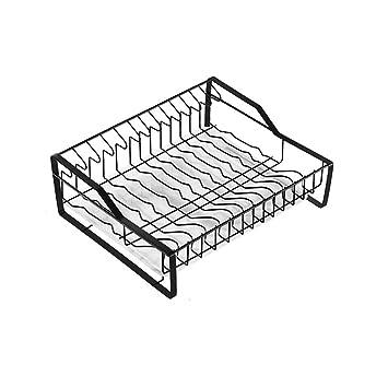 Escurreplatos de acero inoxidable con bandeja de goteo y soporte para cubiertos, estantes de cocina multifunción de una sola capa, color negro: Amazon.es: ...