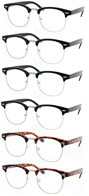 4eb470abd1 Image Unavailable. Image not available for. Color  Fiore® 6 Pack Clear Clubmaster  Reading Glasses ...