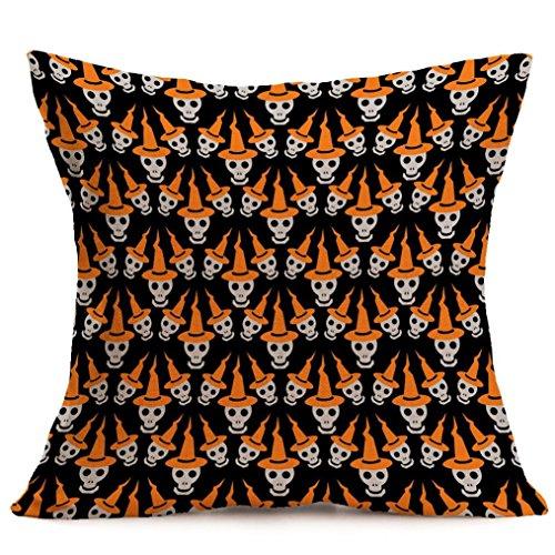 Howstar New Decorative Pillowcase Linen Sofa Vintage Pillow Cover Halloween (E) -