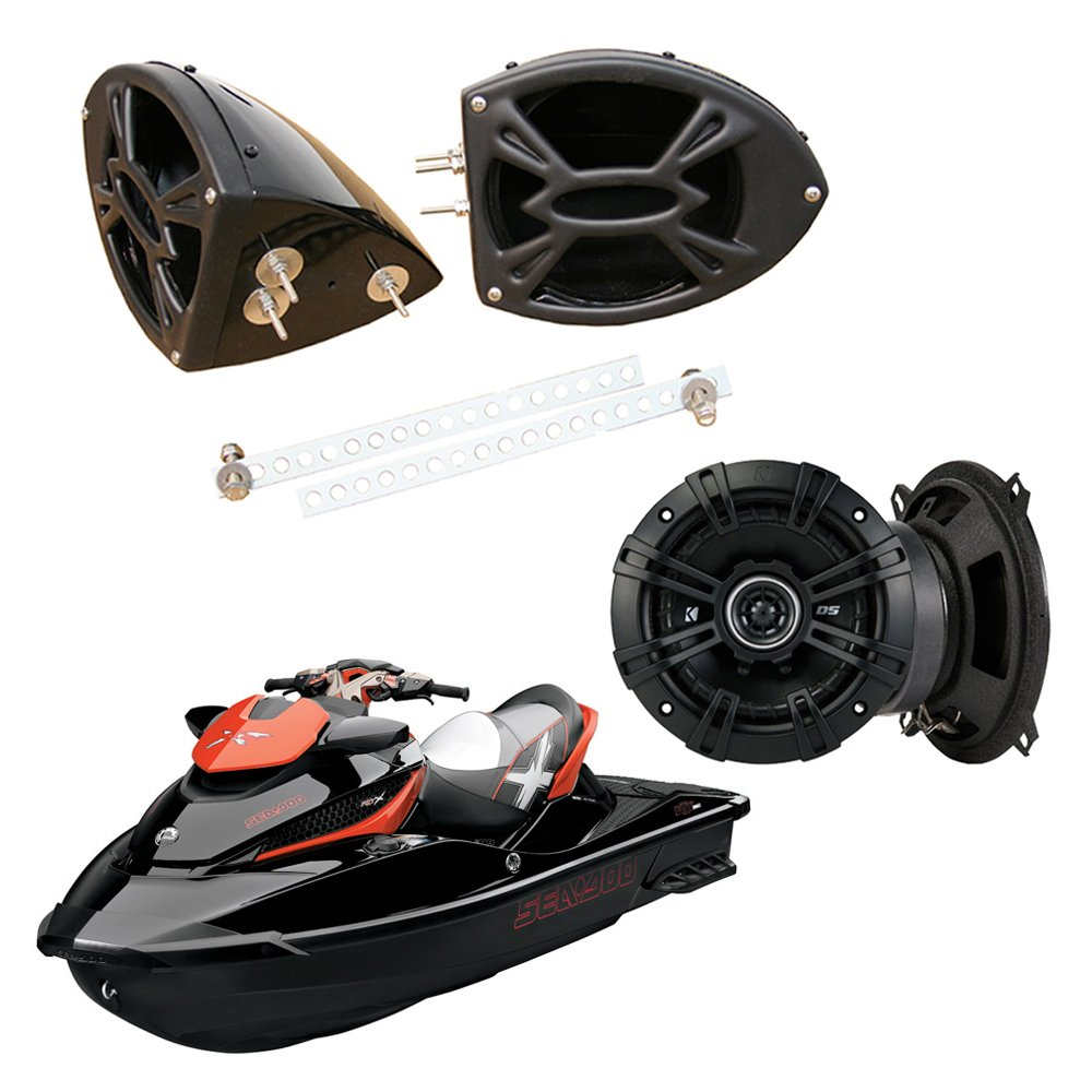 Sea-Doo PWC Marine Kicker Sys DSC50 5 1/4' Gloss Black Speaker Pods Package New Waves and Wheels