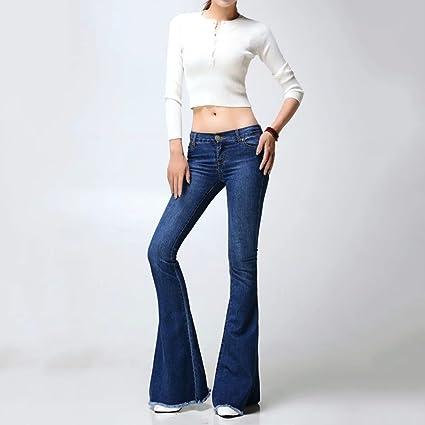 Brilliant firm Europa y Estados Unidos Pantalones Vaqueros Lavados Pantalones a la Moda alejados Botines Grandes