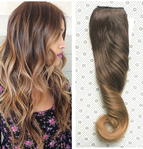 20 Inches Full Head Ombre Dip Dyed Loose Curls Wavy Curly Clip-in Hair Extensions 6pcs Pack (Col. Chocolate brown to dark blonde) (Ombre Dip)