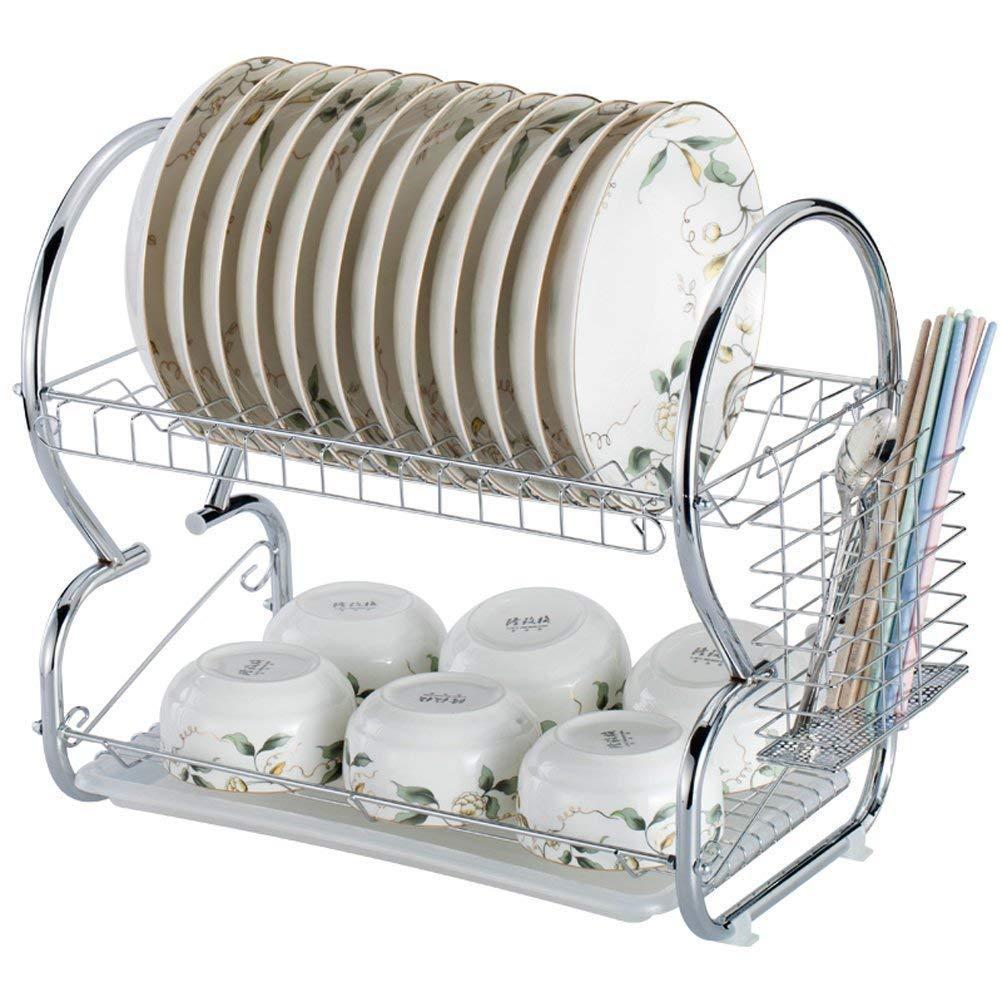 St@llion 2 Tier Dish Drainer Rack with Glass Utensil Cutlery Caddy & Drip Tray (Black): Amazon.es: Hogar