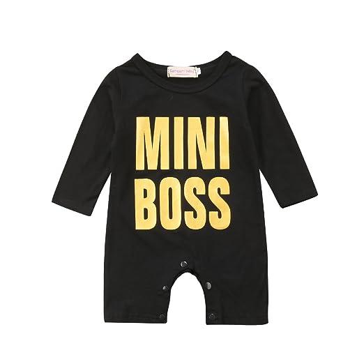 f6ce4d8c1a6a Amazon.com  Newborn Baby Boy Long Sleeve Button Romper Mini Boss ...