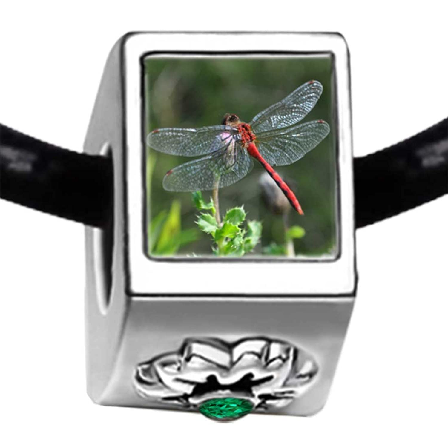 Beautiful Lovely Dragonfly Photo Emerald Green Crystal May Birthstone Flower Bead Charm Bracelets