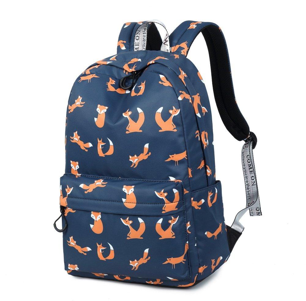 6b824ab187e Amazon.com  Joymoze Retro Colorful Print Trendy Backpack for Women Cute  Schoolbag for Girl Dark Blue Fox  Computers   Accessories