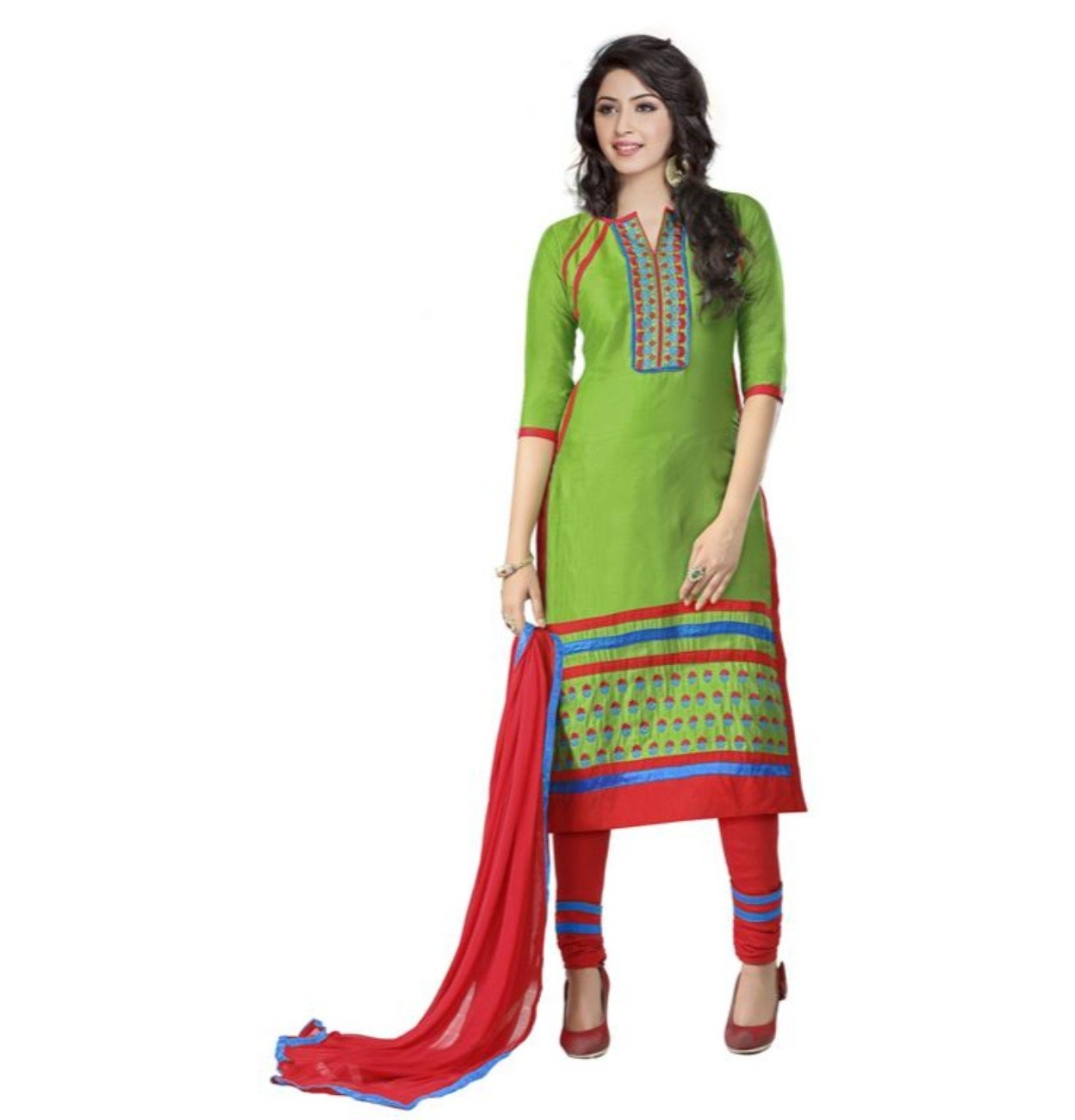 CRAZYBACHAT Indian Ethnic Pure Glass Cotton Designer Green Color Salwar Suit Dress Materials