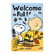 "Peanuts Snoopy Welcome Fall ! Decorative Garden Flag,12"" x 18"""