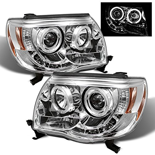 Toyota Tacoma Pickup Chrome Clear Dual Halo Ring Design Projector LED Replacement Headlights Lamps