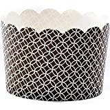 Simply Baked Jumbo Paper Baking Cup, Black Medallion, 20-Pack, Disposable and Oven-safe